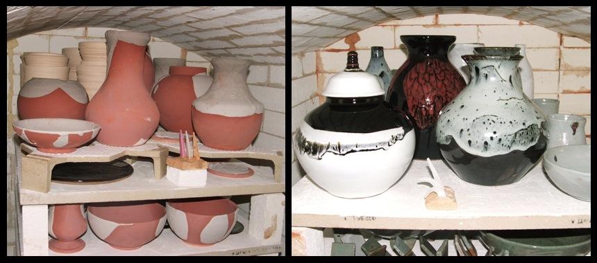 Vue intérieure de l'atelier, la cuisson